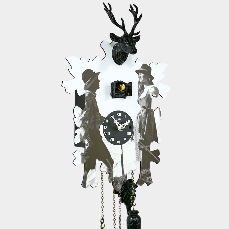 Modern Cuckoo Clock with Black Forest couple print