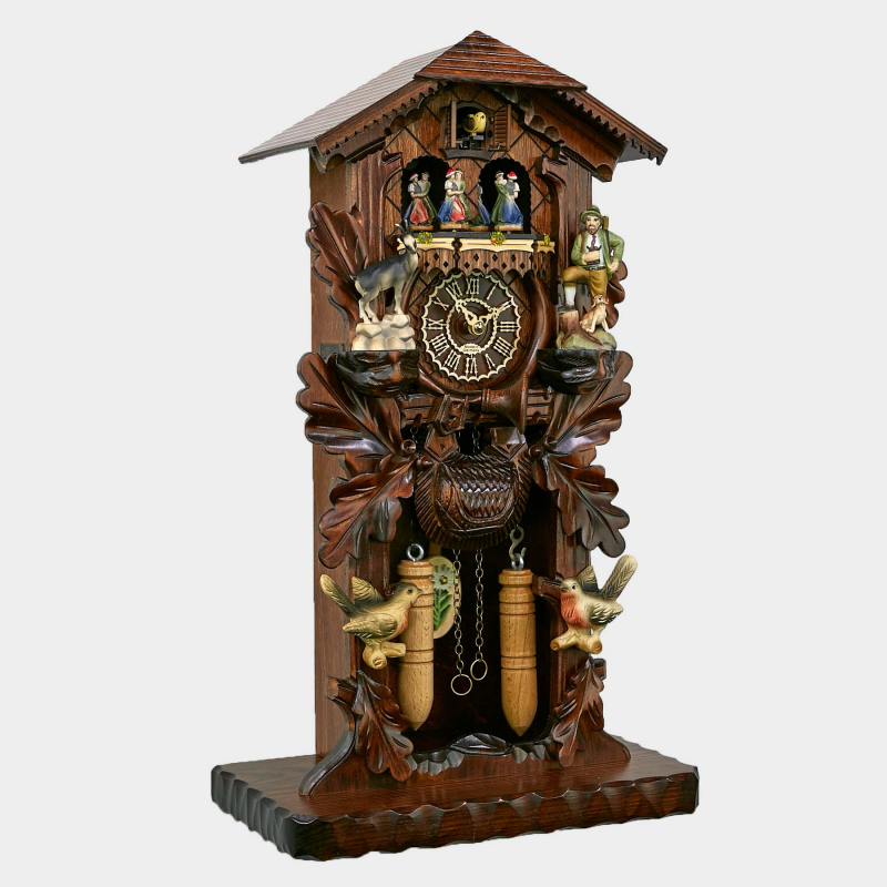 Cuckoo Clock - Black Forest House with detailed handcarvings