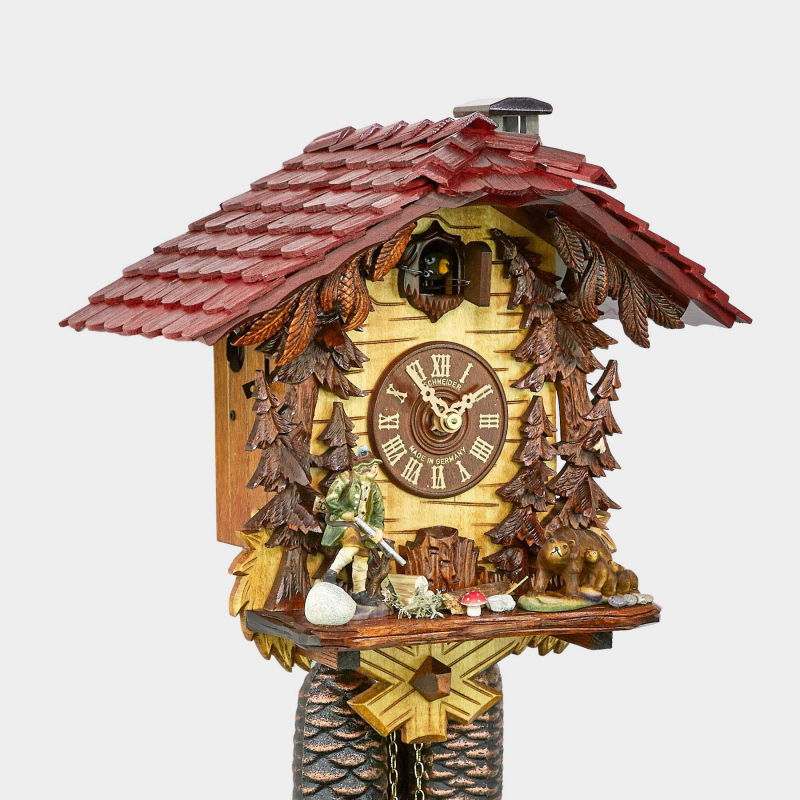 Cuckoo Clock - Chalet with hunter and bears