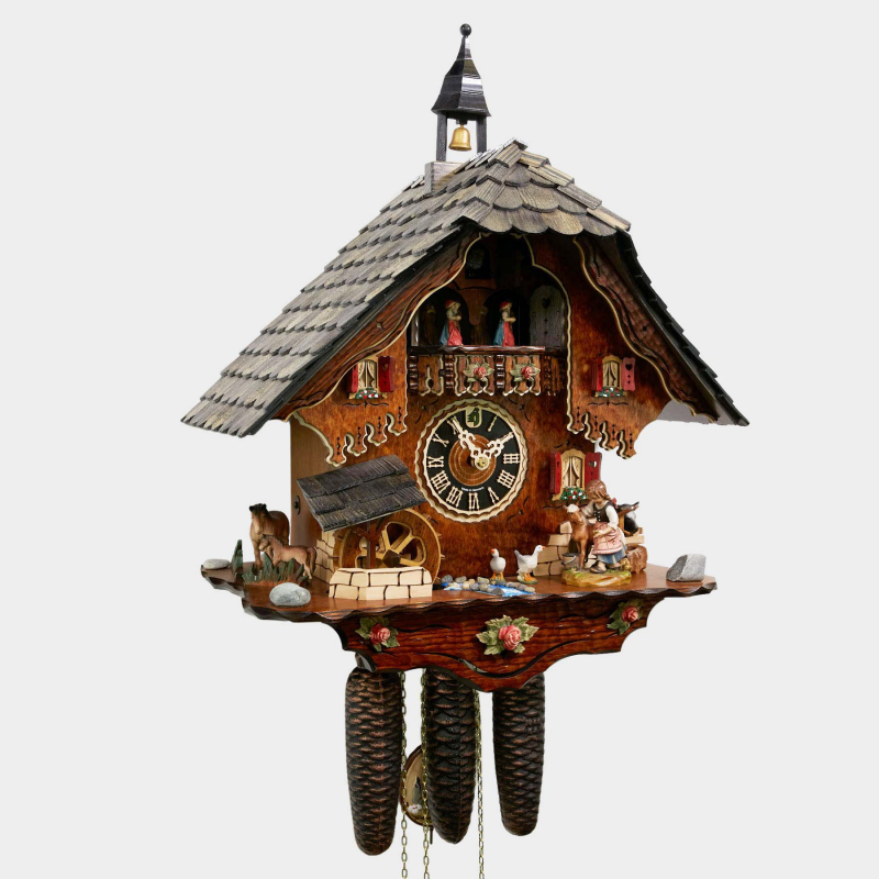 CUCKOO CLOCK - BLACK FOREST HOUSE WITH HORSES