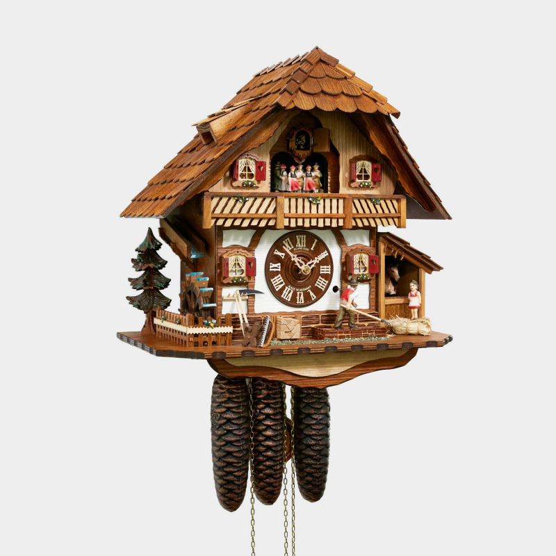 CUCKOO CLOCK - BLACK FOREST HOUSE WITH HORSE STABLE