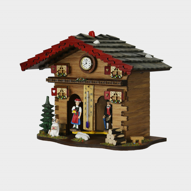 Weather House - Black Forest with clock