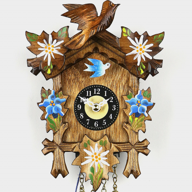 Mini reloj cuco - motivo cinco hojas