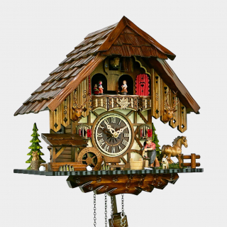 Cuckoo Clock  - Black Forest House Blacksmith and Horse